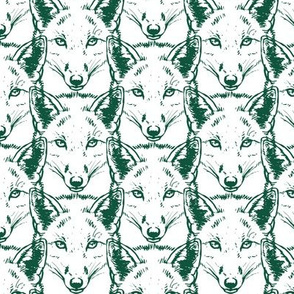 Fox in forest green on white