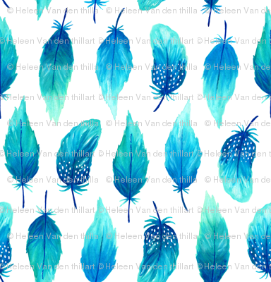 Watercolor feathers blue (mini)