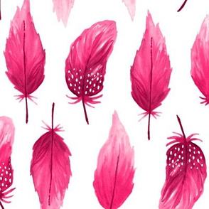 Watercolor feathers pink