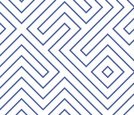 Tribal Maze Cobalt on White fabric by danika_herrick on Spoonflower - custom fabric