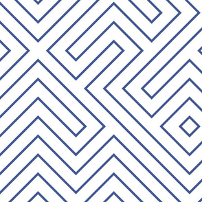 Tribal Maze Cobalt on White