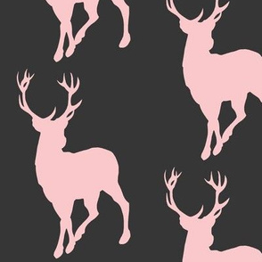 Buck in Pink on black - woodland