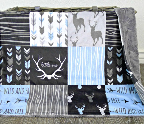 Baby Boy Woodland Wholecloth Rotated- 6' squares - black grey blue deer, antlers, arrows