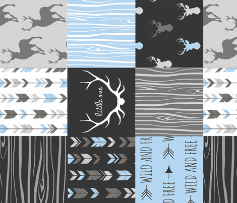 Baby Boy Woodland Wholecloth Rotated- 6' squares - black grey blue deer, antlers, arrows fabric by sugarpinedesign on Spoonflower - custom fabric