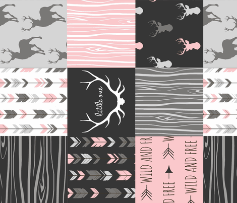 Baby Girl Woodland Wholecloth Rotated fabric by sugarpinedesign on Spoonflower - custom fabric