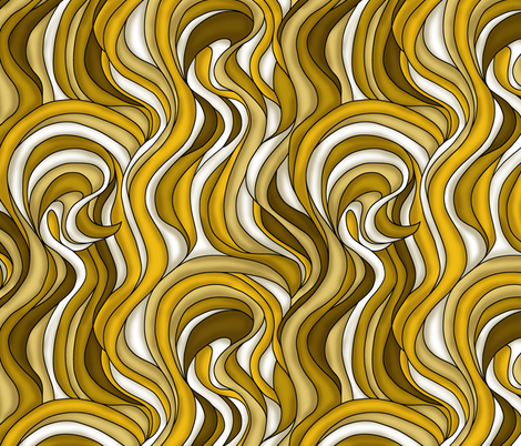 Waves of brown and gold fabric by sixsleekswans on Spoonflower - custom fabric