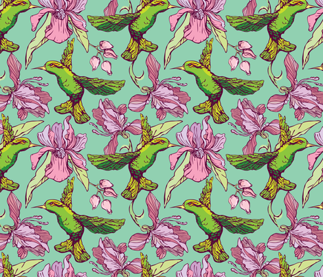 Rrflower Kolibri 2 18inch Shop Preview Seamless Pattern Colibri And Flowers On Green Background Hand Drawn Image For Floral Design