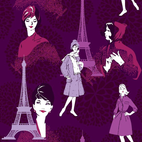 Seamless pattern with retro Fashion Woman portraits and city landscape with Effel Tower on a purple floral background.