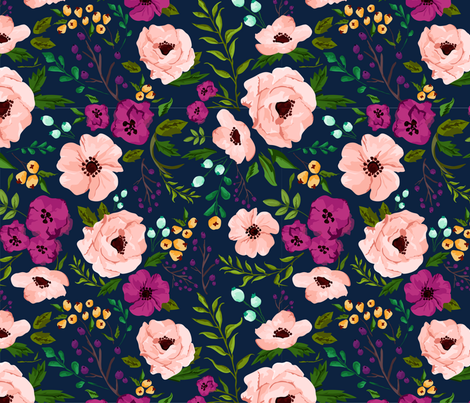 Josie Meadow Floral on Navy fabric by sweeterthanhoney on Spoonflower - custom fabric