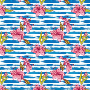 Seamless pattern with tiger lilies flowers on the striped grunge blue and white nautical background.Background for summer design.