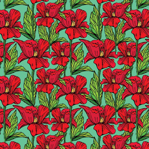 Seamless pattern with Realistic graphic flowers - poppies - hand drawn background.