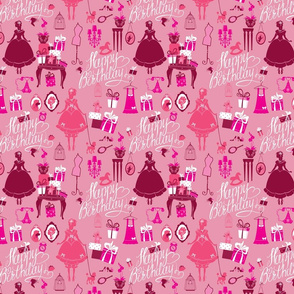Holiday Seamless pattern for girls. Princess Room - glamour accessories, gift boxes, pictures. Princess - silhouettes on pink background. Handwritten calligraphic text Happy Birthday.