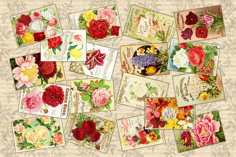 Tea Towel - Vintage Seed Catalogs fabric by malibu_creative on Spoonflower - custom fabric