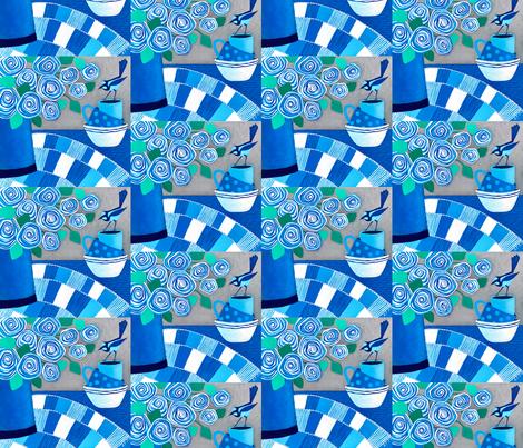 Blue Summer Wren fabric by lisa_frances_judd_ on Spoonflower - custom fabric
