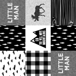 Little Man & You Will Move Mountains Quilt Top - Monochrome (90)