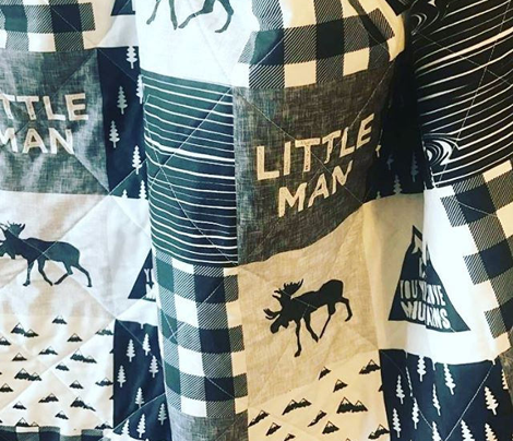 Little Man & You Will Move Mountains Quilt Top - Monochrome
