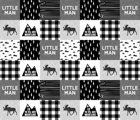 Little Man & You Will Move Mountains Quilt Top - Monochrome  fabric by littlearrowdesign on Spoonflower - custom fabric