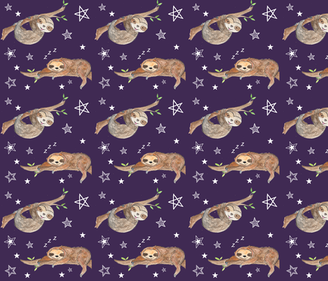 sloth_plum fabric by chavamade on Spoonflower - custom fabric