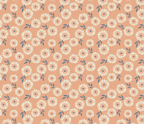 Daisy Patch Coral fabric by laura_hankins on Spoonflower - custom fabric