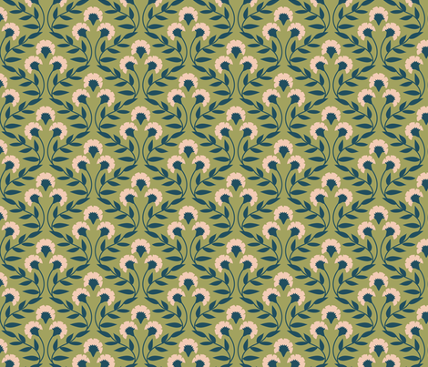 TrellisFloral-Leaf fabric by laura_hankins on Spoonflower - custom fabric