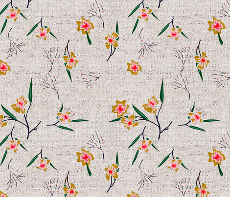 FRENCH_LINEN_DIANTHUS fabric by holli_zollinger on Spoonflower - custom fabric