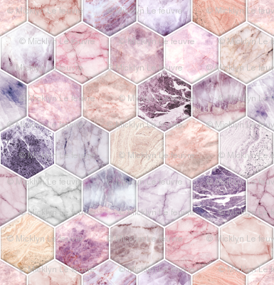 Small Rose Quartz and Amethyst Stone and Marble Hexagon Tiles