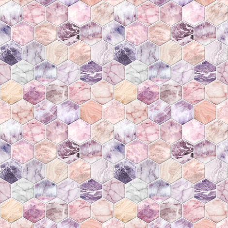 Small Rose Quartz and Amethyst Stone and Marble Hexagon Tiles fabric by micklyn on Spoonflower - custom fabric