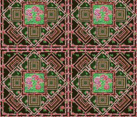 Super quilt with roses, stripes and squares fabric by magic_pencil on Spoonflower - custom fabric