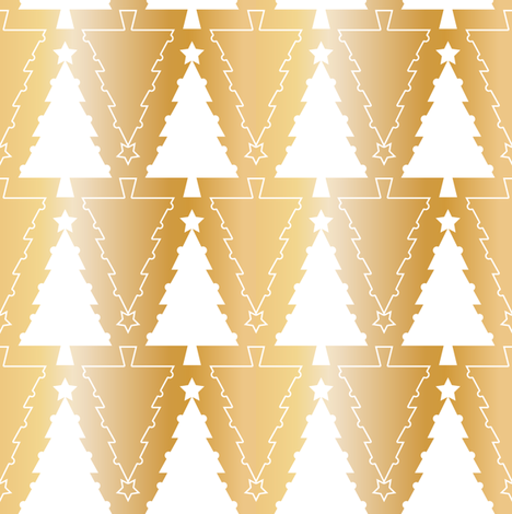Graphic Christmas trees_Gold fabric by align_design on Spoonflower - custom fabric