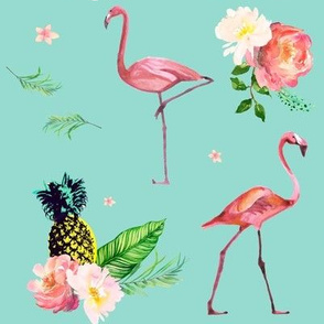 Flamingo Floral Park - Teal