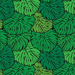 Seamless pattern with palm trees leaves.