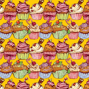 Seamless pattern with decorated sweet cupcakes