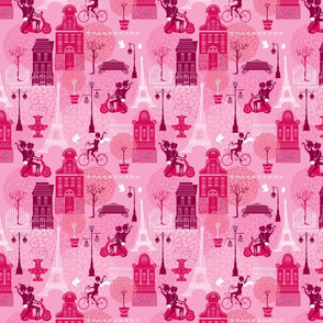 Seamless pattern with girls riding on scooter and bicycle, houses silhouettes and town landscape with Effel Tower on a pink floral background.