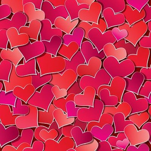 Seamless pattern with Red hearts confetti. Valentine's day or Wedding background