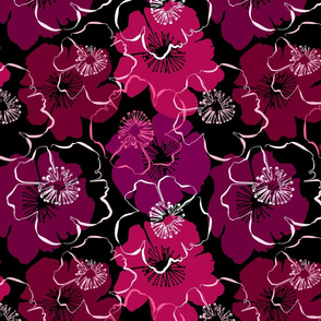 Seamless pattern with hand drawn outlines frangipani, Plumeria flowers