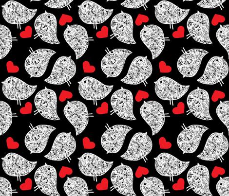 birds_rando_black_red_white fabric by het on Spoonflower - custom fabric