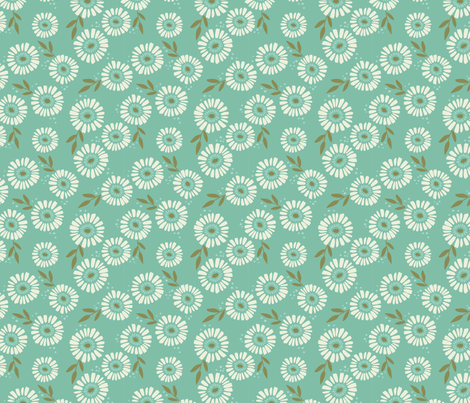 Daisy Patch Teal fabric by laura_hankins on Spoonflower - custom fabric