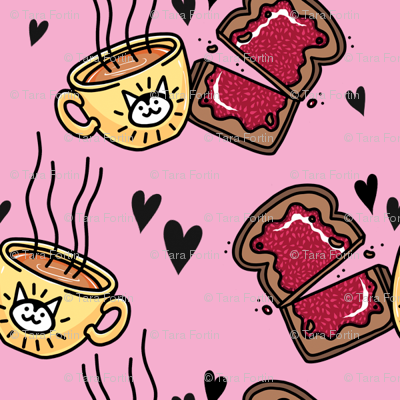 Tea and Toast - Bright Pink Version
