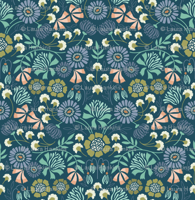 Brocade Blooms Blue