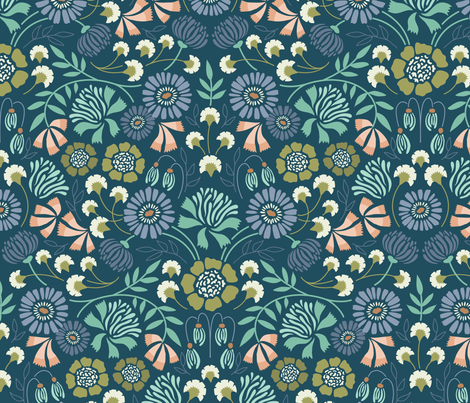 Brocade Blooms Blue fabric by laura_hankins on Spoonflower - custom fabric