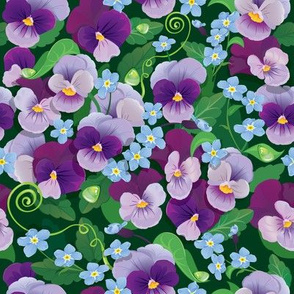 Seamless pattern with beautiful flowers - pansy and forget me not - floral  background.
