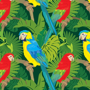 Seamless pattern with palm trees leaves and Blue Yellow and Red Blue Macaw parrots.