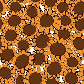 Big Orange Sunflowers on White