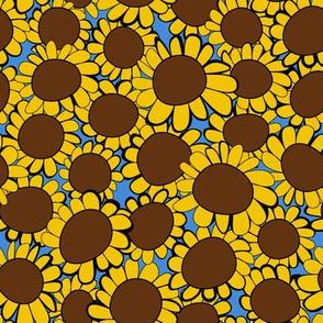 Big Yellow Sunflowers on Sky Blue
