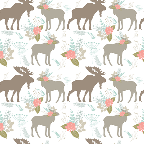 moose flower fabric by teart on Spoonflower - custom fabric