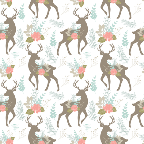 deer flower fabric by teart on Spoonflower - custom fabric
