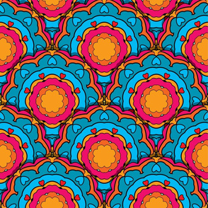 Colorful seamless pattern with round ornaments, kaleidoscope floral backgrounds.