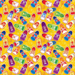 Seamless pattern - colored children gumshoes on yellow background, childish design.