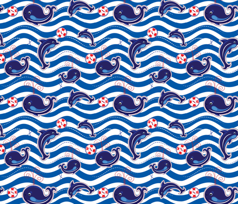 Seamless sea pattern with dolphins, whales and buttons on stripe background, childish design. fabric by lian-art on Spoonflower - custom fabric