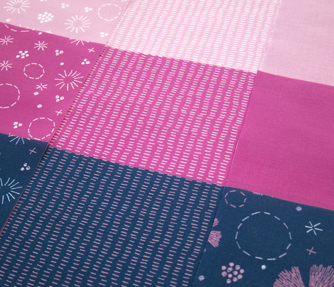 Carthusian Pink Stitches on Blue